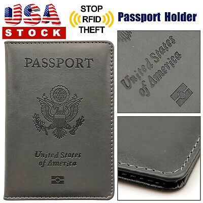 Leather Passport Cover Protector ID Name Card Case Travel Wallet Organizer Gray