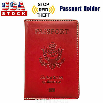 Passport Cover Protector PU Leather ID Case Card Holder Organizer Red US