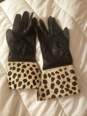 VINTAGE PATTI HORN Women's BLACK FINE LEATHER CALF HAIR GLOVES/Size 13-RARE