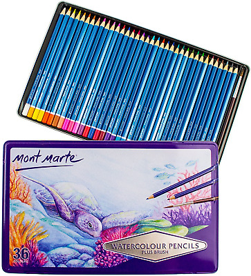 MONT MARTE Watercolour Pencils Set - 36 pieces in a classy Metal Case - Pens, -