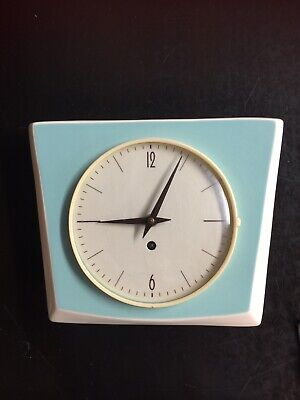 1950s kitchen Clock. Vintage. 8 Day Mechanical Movement. Ceramic Case.