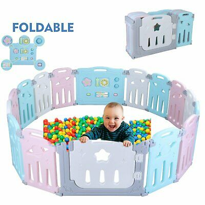 16 Panel Baby Safety Play Yards Kids Foldable Playpen Activity Center Fence