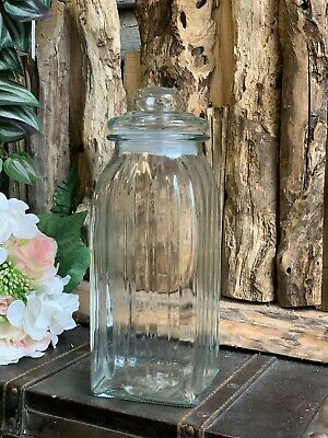 Tall Square Ribbed Glass Sweet Jar Candy Pot Wedding Table Vintage Decoration