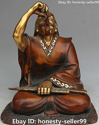 China Spring Autumn Period Bronze Gold Gilt Overlord King Goujian Of Yue Statue