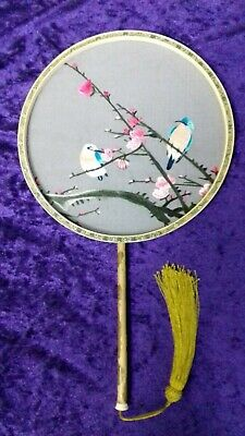 Oriental Silk Embroidered Fan. Boxed . 53 Cm Length.