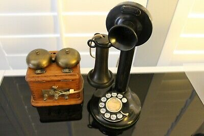 Working Antique Candlestick Telephone with Ringer Box old from old hotel