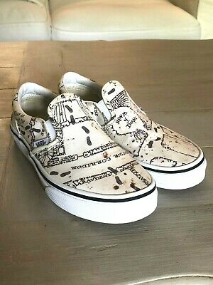 "VANS ""Off The Wall"" Kids Classic Harry Potter Marauders Map Slip On Shoes Size 4"