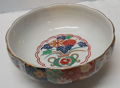 Bowl Flowers Vase and Floral Designs Scalloped Rim Imari Fine Porcelain Vintage