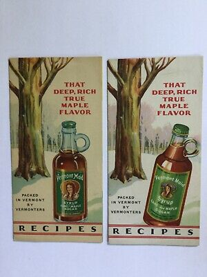Vintage 1931-32 Vermont Maid Maple Syrup Advertising Booklet Lot of 2 Recipes