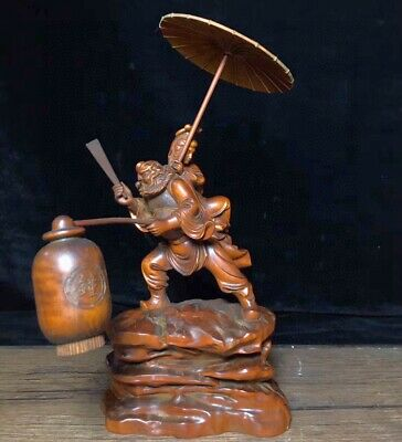 Collectable Chinese Old Boxwood Hand-Carve Ancient People Bring Happiness Statue