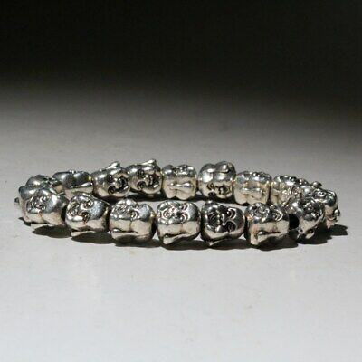 China Collectable Old Miao Silver Hand-Carve Buddha Head Beautiful Chic Bracelet