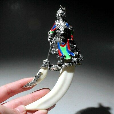 Collectable China Old Miao Silver Hand-Carved Guanyu Delicate Exorcism Pendant