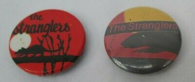 The Stranglers 2 X Vintage 1980s Rattus US 25mm Badges Pins Buttons Punk