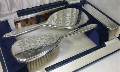 Cased Vintage hallmarked Silver Backed Vanity Set (Mirror & 2 Brushes) - 1973
