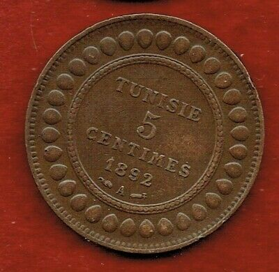 Tunisia 5-Centimes 1892A..copper...mintage 1,175,000