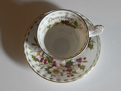 """Royal Albert, """"December"""" Flower of the Month, Bone China, Cup & Saucer, 1990"""