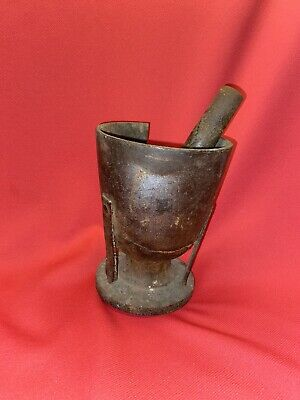 Unique Antique Vintage Cast Iron Mortar and Pestle 3 Legged