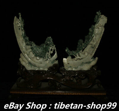 China Natural Jadeite Emerald Green Jade Magpie Bird Plum blossom Pair Statue