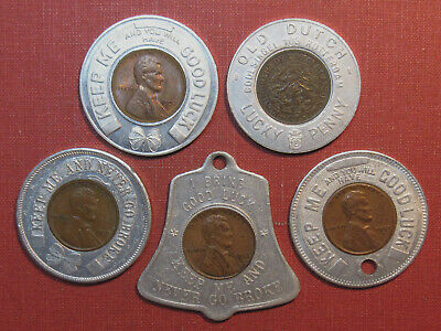 Lot Of (5) Encased Cents - (4) Wheats Plus A Dutch One Cent, Interesting Group!