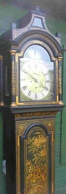 "Antique  Black Lacquered Case "" Aberdeen "" Longcase / Grandfather  Clock"