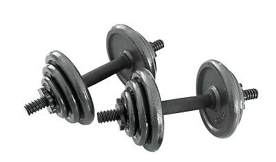 Opti Cast Iron Dumbbell Set 20KG Gym Weight Plate New Sealed Spinlock Adjustable