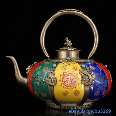 Chinese Old Tibet silver Hand-carved Dragon monkey Inlay Zircon porcelain Teapot
