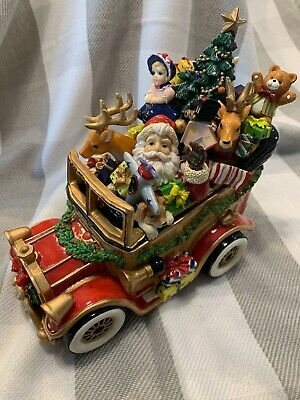 """Fitz Fitz and Floyd Santa Mobile Music Box Plays """"We Wish You A Merry Christmas"""""""