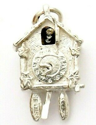 Sterling Silver charm cuckoo clock solid clock hands and cuckoo moves