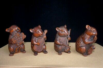 Collectable China Old Boxwood Handwork Carve Rat Beautiful Delicate Noble Statue