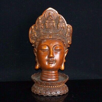 Collectable China Antique Boxwood Hand-Carved Kwan-Yin Exorcism Buddhism Statue