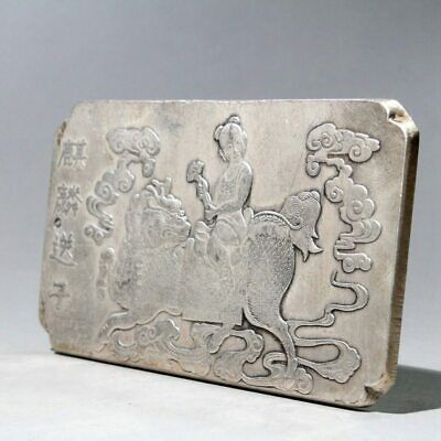 Collectable China Old Miao Silver Hand-carve Kylin Child Auspicious Chic Pendant