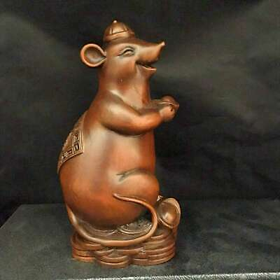 Collect China Boxwood Handwork Carve Bring Wealth Mouse Auspicious Lovely Statue
