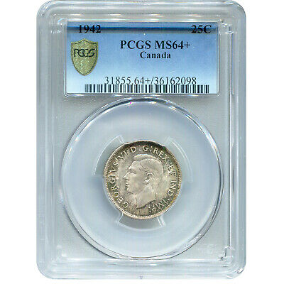 Canada 25 Cents Silver 1942 MS64+ PCGS