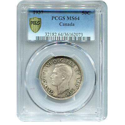 Canada 50 Cents Silver 1937 MS64 PCGS