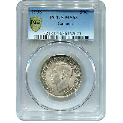 Canada 50 cents Silver 1938 MS63 PCGS