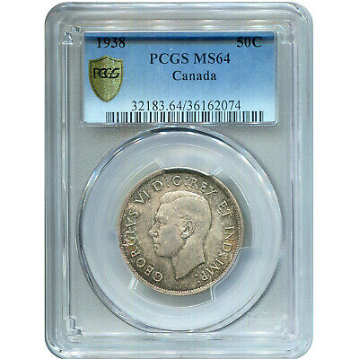 Canada 50 Cents Silver 1938 MS64 PCGS