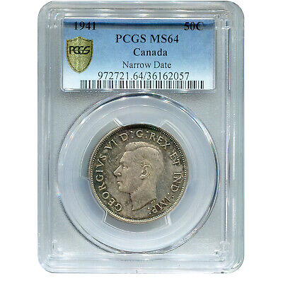 Canada 50 Cents Silver 1941 MS64 PCGS
