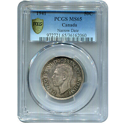 Canada 50 Cents Silver 1941 MS65 PCGS