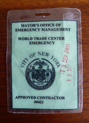 Authentic World Trade Center - Emergency Badge Dated 9/15 access to Ground Zero