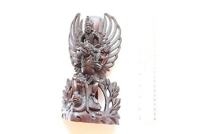 "10"" Large Antique Chinese  Hand  Carved  Hard  Wood Dragon Statue"