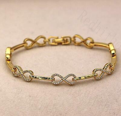 "18K Gold Filled Zircon Hollow Number /""8/"" Bowknot Cuff Chain Party Bracelet DS"