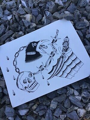 tattoo art painting. Framed Traditional flash sheet. Watercolor ink 9x12in