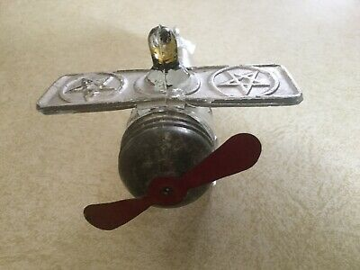 Vintage Glass Candy Container SPIRIT OF GOODWILL Airplane Metal Lid