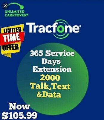 TracFone 365 Service Days + 2000 Minutes talk,text,data Refill for SmartPhone.