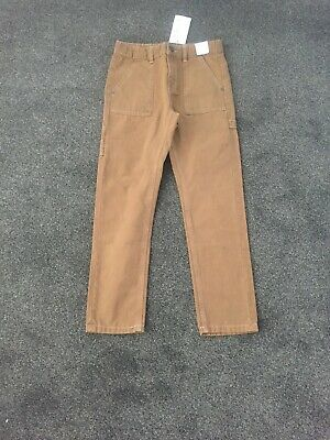 Bnwt Marks And Spencer Boys Tan Canvas Jeans Age 8-9 Years, Rrp £14