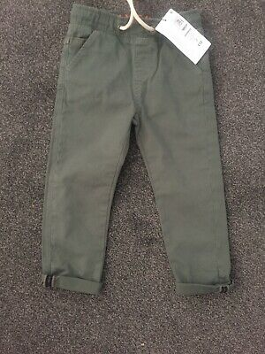 Bnwt Marks And Spencer Boys Khaki Canvas Jeans Age 2-3 Years, Rrp £12