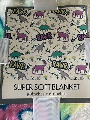 DINOSAURS✧ THROW BLANKET by FROLICS KIDS COLLECTION ✧ COTTON ✧ NWT ✧ VERY CUTE!