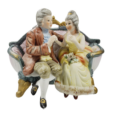 Vintage Cucci Figurine Royal Crown Victorian Couple on Couch Hand Painted