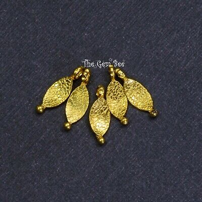 18k Solid Yellow Gold Fancy Textured Petite Leaf Charms Findings (5)
