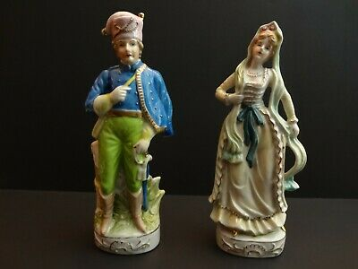 "Vtg 10.5"" Couple Colonial Victorian Revolution Soldier man lady Occupied Japan"
